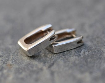 Sterling Silver Vintage square hoop earrings, small hoop earrings, square hoops