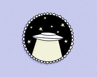 Glow in the dark UFO enamel lapel pin