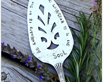 Garden Marker, Rosemary & Lavender Saying, Vintage Silverware, Pie Server, Hand Stamped, Herbs, Gardeners Soul, GUILD 1932 Rogers, USA made