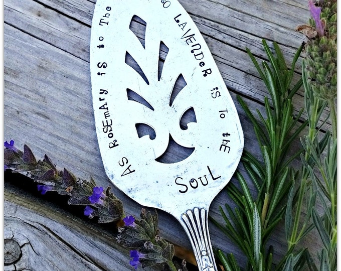 Featured listing image: Garden Marker, Rosemary & Lavender Saying, Vintage Silverware, Pie Server, Hand Stamped, Herbs, Gardeners Soul, GUILD 1932 Rogers, USA made