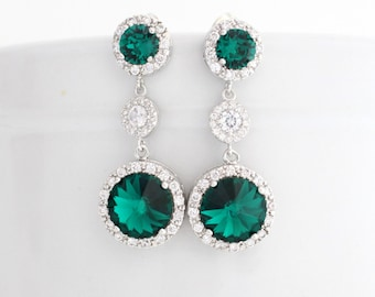 Emerald Wedding Earrings, Green Bridal Statement Earrings, Swarovski Crystal Earrings, Bridal Earrings for Wedding, Bridal Drop Earring Long
