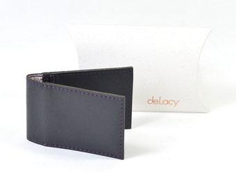 Handmade Charcoal Grey Leather Bi Fold Card Wallet Liberty Of London Lining.