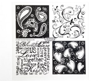 CTMH D1200 Adorable Backgrounds Close To My Heart Love Valentine Clear Stamp Set Rubber Stamping Retired Discontinued Unmounted Stamps USED