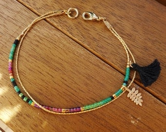 Watermelon Minimalist Little Gold Leaf Charm Bracelet