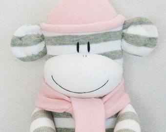 Sock Monkey Grey and White Stripes with Pale Pink Hat and Scarf Baby Toy