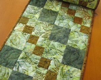 Quilted Table Runner, Batik Table Runner, Handmade TableRunner, Green Brown Runner, Table Linen, Table Decor, Home Decor, Table Runner