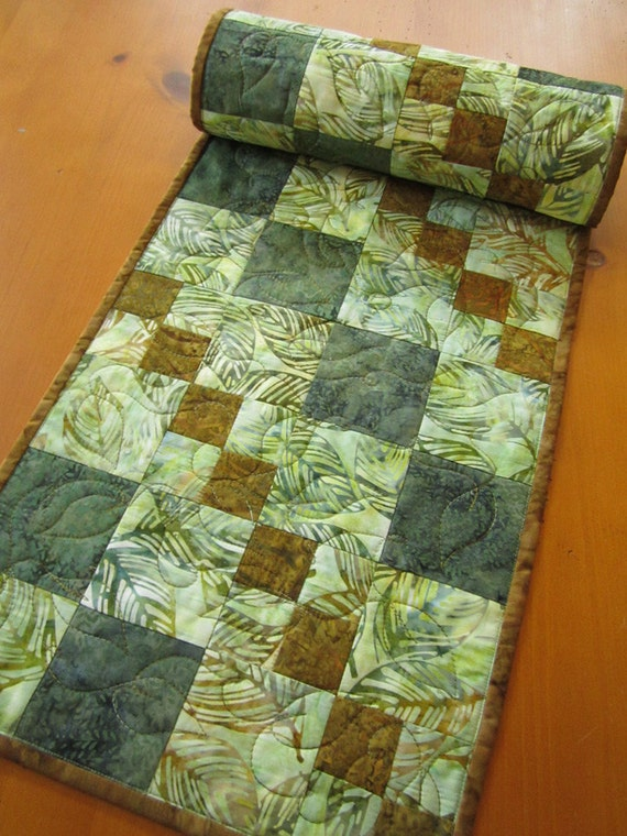 Quilted Table Runner Batik Table Runner By Patchworkmountain