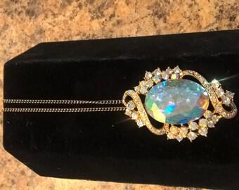 Gorgeous Large Rhinestone crytal pendant necklace