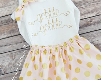 Big Girl Thanksgiving Outfit, Gobble Gobble Shirt; thanksgiving shirt and skirt, thanksgiving dress