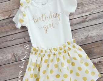 Birthday Girl Outfit with Knot Headband; Baby Girl Outfit; Babies First Birthday; First Birthday skirt & Onesies® brand by Gerber®