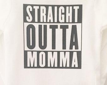Straight Outta Momma; Boy Bodysuit; Funny Baby Bodysuit; Baby Boy Bodysuit