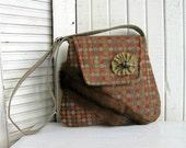 Hand bag with recycled fur / Brown, Beige, Green, Orange / bag adjustable loops / eco design bag # 164