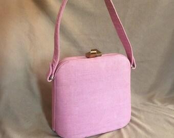 SWEET... Vintage 50's Pink Handbag, Linen Fabric Structured Bag, Top Handle, Hard Sided