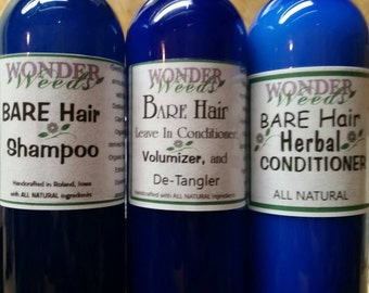 ALL NATURAL, Herbal Hair Conditioner, Shampoo, Leave In Conditioner Set