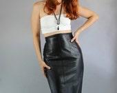 Vintage 80s Women's High Waisted Black Leather Skirt // Lillie Rubin