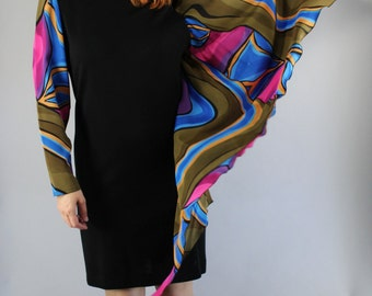 80s Cocktail Dress, Silk, Little Black Dress, Wool, Knee Length, Long Sleeve, Formal, Party,Performer Rocknroll, Size Medium