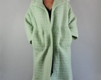 Vintage 1950s 50s Women's Mint Green Rare Unique Soft Mohair Wool Fall Winter Warm Sweater Clutch Coat