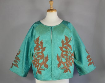 Vintage 90s Women's Verdigris Green Brown Branches Arts and Crafts Art Nouveau Design Fall Spring Wear to Work Art Jacket