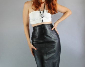 Vintage 80s Women's High Waisted Black Leather Skirt // Lillie Rubin