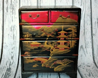 Vintage Asian Jewelry Box - Black Red Gold Jewelry Box - Wooden Jewelry Box - Japanese Jewelry Box - Jewelry Cabinet - Jewelry Storage Box