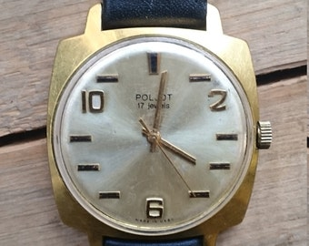 Mens watch Poljot, mens wrist watch from Russia Soviet Union, Vintage retro style, gold covered