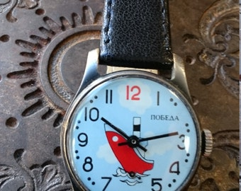 A RARE soviet Russian mens wristwatch Pobeda from Soviet Union era ship