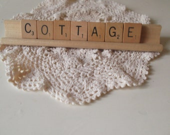 COTTAGE Sign Scrabble Letter Sign Vintage Letters Farmhouse Chic Rustic Decor