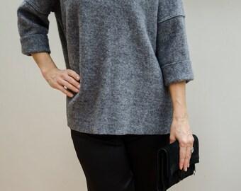 Women's Grey Wool Funnel Neck Jumper