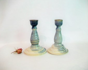 Candlestick Holders - Slate over Cream  - Set of 2 - Ready to Ship - Actual Holders - Handmade, Thrown on the Potters Wheel