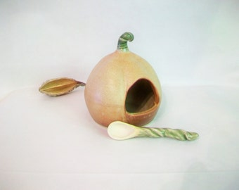 Salt Cellar/Salt Pig - with Handmade Spoon - Pumpkin Shaped