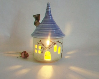 Fairy House/ Night Light / Garden Decor - with a Purple/Lilac  Roof - a Hand Painted Rose Vine - With Electric Cord - Ready to Ship