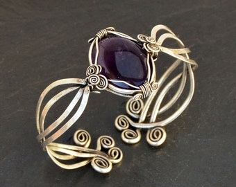Amethyst Bracelet, Cuff Bracelet, Amethyst Cuff, Wire Wrap Bracelet, Silver Bracelet, Gemstone Bangle, Bangle Bracelet, Bracelets for Women