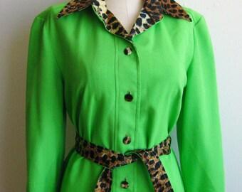 Vintage 60s Mod Lime Green LILLI ANN Leopard Trim Shirt Dress
