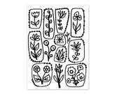 Coloring Book Page Instant Digital Download - hand drawn floral flowers folk art - black and white drawing art print by Jessica Torrant pg 1