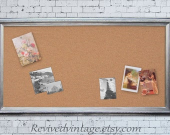 "EXTRA LARGE CORKBOARD 53""x29"" Large Bulletin Board Modern Office Memo Board Silver Framed Brushed Nickel Kitchen Memo Board Cork board"