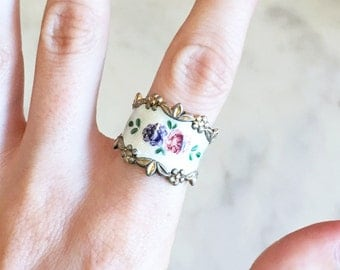 Vintage 40s 50s Sterling Silver Floral Guilloche RING 7