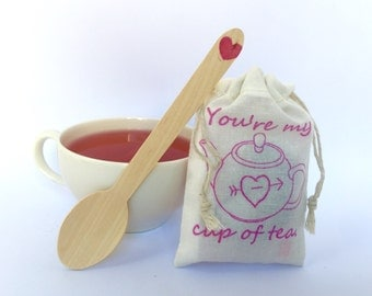 Unique Valentines Day card alternative for the tea lover. You're my cup of tea. Ready to ship.