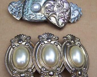Retro hair barrettes 2 retro faux pearl hair accessories hair clip hair slide hair jewelry hair ornament