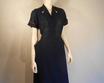 Aye Aye Captain - Vintage 1940s 1950s Sheer Navy Blue Day Dress Pave Rhinestone Arrows Boston Maid  - 12/14