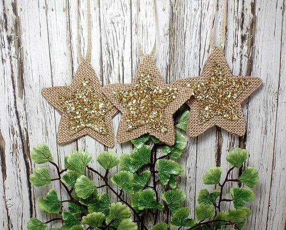 Set of Burlap Star Ornaments With Gold Glitter Star Center - Christmas - Yule
