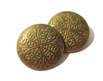 Victorian Buttons Two (2) ANTIQUE Victorian Buttons Brass Gold Tone Buttons Vintage Wedding Jewelry Sewing Supplies (G140)