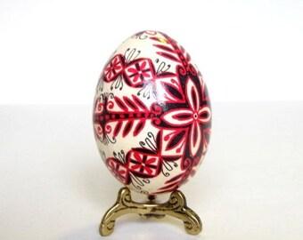 Black and Red pysanka,  flowers on chicken egg, Ukrainian Easter egg Pysanka