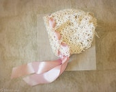Baby Girl Hat, Baby Bonnet, Cream Pink Newborn Hat, Baby Girl Lace Hat, Bonnet, Ivory Hat, Newborn Props, Gold Baby Hat, RTS, Vintage Hat