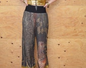 Hard To Find Vintage 80's Jean Paul Gaultier Multi Print Boho Chic Wide Leg Pants Small