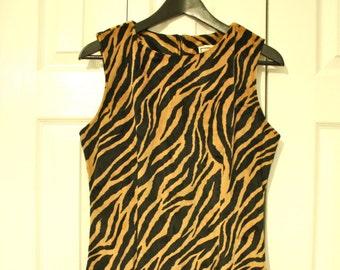 90s Tiger Print Dress / Animal Print Mini Dress