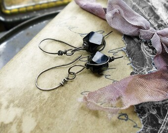 Bead & Wire Earrings - Sterling Silver Wire Wrapped Vintage Rustic Black Glass Beads - Faceted Geometric Dark Everyday Single Bead Earrings