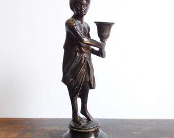 Antique Figural Bronze sculpture Brass Candlestick  Holder Boy Turban Old World cast metal