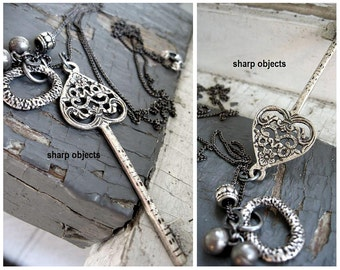 Key to My Heart - Victorian silver scroll key, lucky sterling zen bells, metalwork bead & ring charm, gunmetal chain necklace