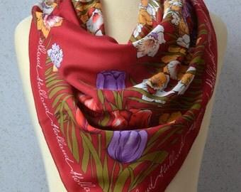 Vintage Square Scarf: Souvenir, Holland, Tulips, Flowers, Floral, Maroon