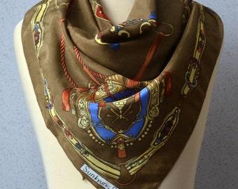 Vintage Square Scarf: Ornate, Swords, Belts, Shields, Brown, Gold